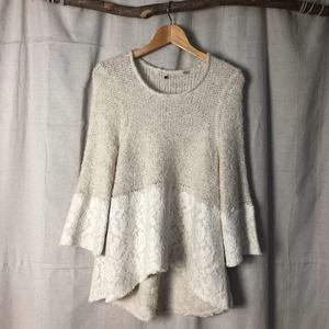 Knitted & Knotted   Anthro Felted Lace Sweater